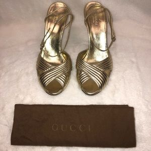 GUCCI Gold Strappy Sandal Pumps